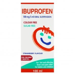 Ibuprofen 100mg/5ml Oral Suspension Strawberry Flavour 100ml