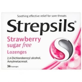 Strepsils Sugar Free Strawberry Lozenges x 36