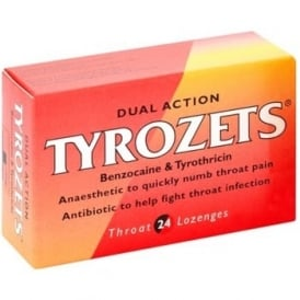 Tyrozets Dual Action Lozenges x 24
