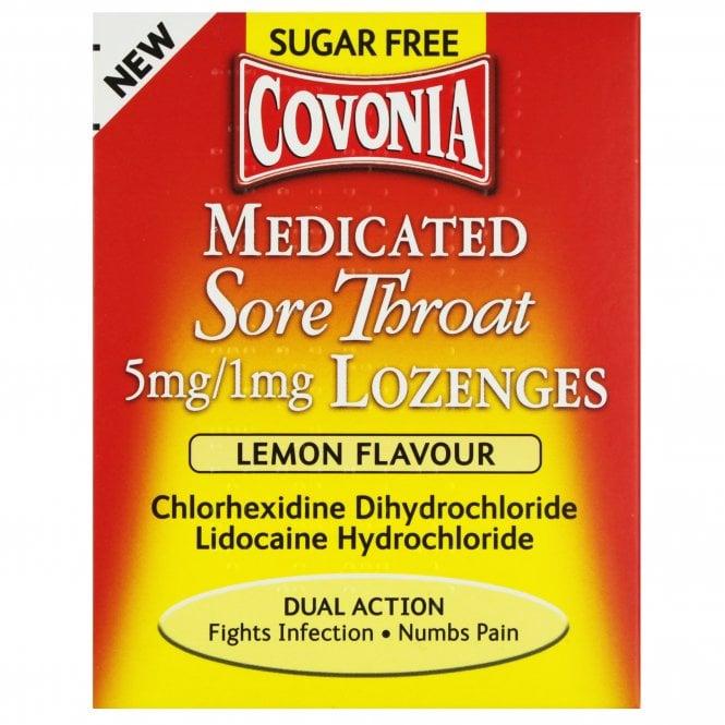 Covonia Medicated Sore Throat Sugar Free Lemon Flavour Lozenges