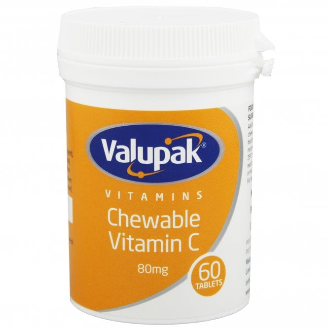 Valupak Chewable Vitamin C 80mg Tablets x 60