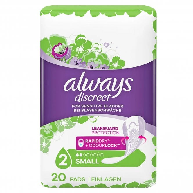 Always Discreet Pads Small (Size 2) 20 Pads