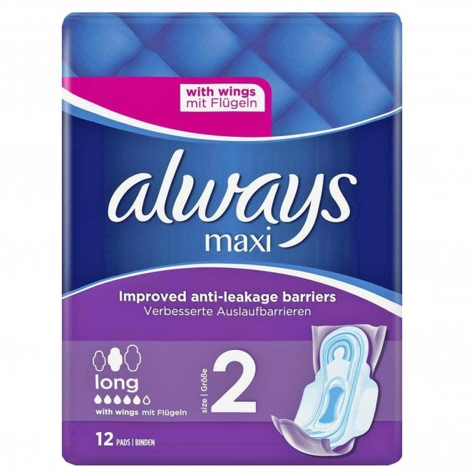 Always Maxi Long With Wings (Size 2) 12 Pads