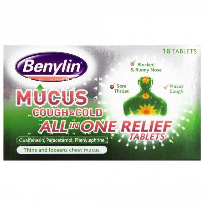 Benylin Mucus Cough & Cold All-In-One Relief Tablets x 16