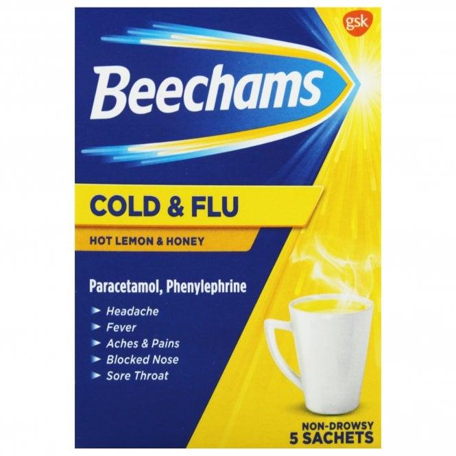 Beechams Cold & Flu Hot Lemon & Honey Sachets x 5