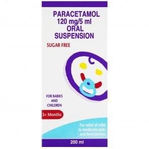 Paracetamol 120mg/5ml Suspension Cherry Flavour 200ml