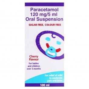 Paracetamol 120mg/5ml Suspension Cherry Flavour 100ml