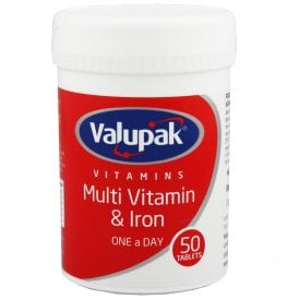 Valupak Multi Vitamin & Iron One A Day Tablets x 50