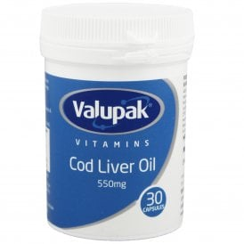 Valupak Cod Liver Oil 550mg Capsules x 30