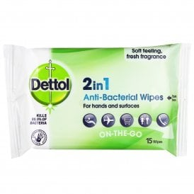 Dettol 2-In-1 Antibacterial Wipes (15 Pack)